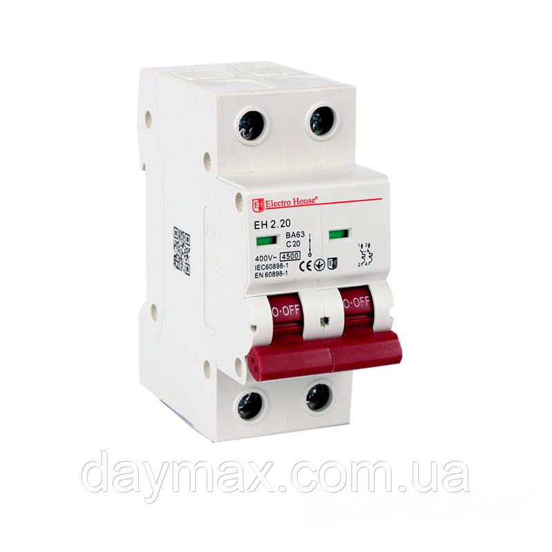 ElectroHouse Автоматичний вимикач 2P 20А  4,5kA 230-400V IP20
