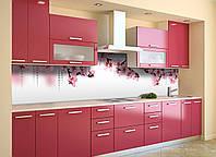 Кухонный фартук Розовые цветы Вишни (виниловая пленка наклейка скинали ПВХ) сакура на белом фоне 600*2500 мм, фото 1