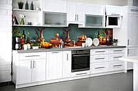 Кухонный фартук Фруктовый Натюрморт (виниловая наклейка скинали ПВХ) виноград кувшины Зеленый 600*2500 мм, фото 1