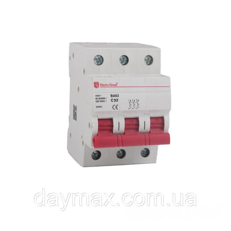 ElectroHouse Автоматичний вимикач 3P 100A 4,5kA 230-400V IP20