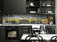 Кухонний фартух Жовті поля (вінілова плівка наклейка скіналі ПВХ) квіти природа Сірий 600*2500мм, фото 1