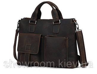 Мужская кожаная сумка под винтаж Wild Leather (260) коричневая
