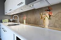 Кухонный фартук Розы в вазах (виниловая пленка наклейка скинали ПВХ) 3д винтаж Бежевый 600*2500 мм, фото 1