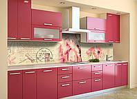 Кухонный фартук Нежные Герберы (виниловая наклейка скинали ПВХ) розовые цветы винтаж Бежевый 600*2500 мм, фото 1