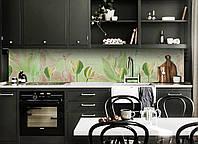 Кухонный фартук Зеленые Тюльпаны (виниловая пленка наклейка скинали ПВХ) цветы скрипка надписи 600*2500 мм, фото 1