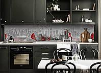 Кухонный фартук Городская жизнь (виниловая пленка наклейка скинали ПВХ) город цветы каллы Серый 600*2500 мм, фото 1