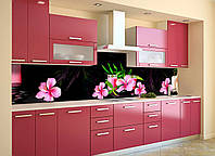 Кухонный фартук Розовый Гибискус (виниловая пленка наклейка скинали ПВХ) цветы на Черном фоне 600*2500 мм, фото 1