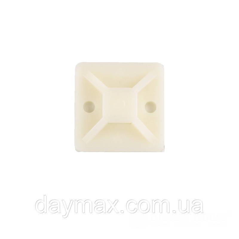 ElectroHouse Майданчик для стягування (хомутів) самоклеючий 20х20 мм білий нейлон