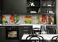 Кухонный фартук Ассорти фруктов (виниловая пленка наклейка скинали ПВХ) овощи доски Еда Желтый 600*2500 мм, фото 1