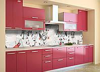 Кухонный фартук Письма и Цветы (виниловая пленка наклейка скинали ПВХ) надписи абстракция Серый 600*2500 мм, фото 1