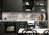 Кухонний фартух Ретро Місто (вінілова плівка наклейка скіналі ПВХ) малюнок олівець Сірий 600*2500мм, фото 1