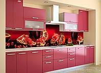 Кухонний фартух Гранатовий сік (вінілова плівка наклейка скіналі ПВХ) зерна граната Червоний 600*2500мм, фото 1