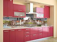 Кухонный фартук Крепость (виниловая наклейка скинали ПВХ) карандаш рисунок замок город Коричневый 600*2500 мм, фото 1