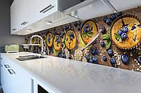 Кухонный фартук Черничные кексы (виниловая пленка наклейка скинали ПВХ) ягоды еда Коричневый 600*2500 мм, фото 1