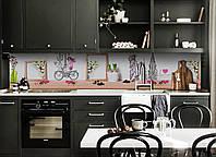 Кухонный фартук Милая Франция (виниловая пленка наклейка скинали) велосипед Эйфелева башня Бежевый 600*2500 мм, фото 1