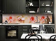 Кухонный фартук Цветы Лотоса (виниловая пленка наклейка скинали ПВХ) водяные лилии Бежевый 600*2500 мм, фото 1