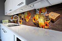 Кухонный фартук Календула (виниловая пленка наклейка скинали) оранжевые цветы на деревянном фоне 600*2500 мм, фото 1