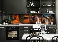 Кухонный фартук Вечер в Провансе (виниловая наклейка скинали ПВХ) ночной улица город Коричневый 600*2500 мм, фото 1