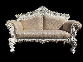 Кушетка банкетка софа диванчик Палермо Белая патина ручной работы в стиле барокко