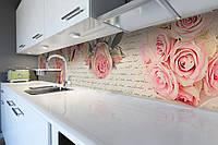 Кухонный фартук Письмо и Розы (виниловая пленка наклейка скинали ПВХ) цветы надписи Розовый 600*2500 мм, фото 1