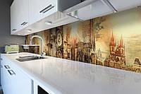 Кухонный фартук Древняя Европа (виниловая наклейка скинали) замки Архитектура винтаж Коричневый 600*2500 мм, фото 1