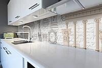 Кухонный фартук Античность (виниловая пленка наклейка скинали ПВХ) скульптура колоны Серый 600*2500 мм, фото 1