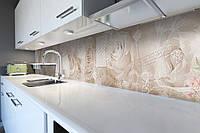 Кухонный фартук Бежевые Розы (виниловая пленка наклейка скинали ПВХ) цветы Абстракция 600*2500 мм, фото 1