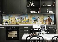 Кухонний фартух Море в фотографіях (вінілова плівка наклейка скіналі ПВХ) корабель маяк Бежевий 600*2500мм, фото 1