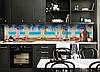 Кухонный фартук Молочный Коктейль (виниловая пленка наклейка скинали ПВХ) пляж море отдых Голубой 600*2500 мм