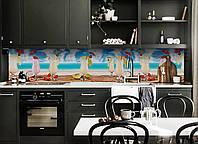 Кухонный фартук Молочный Коктейль (виниловая пленка наклейка скинали ПВХ) пляж море отдых Голубой 600*2500 мм, фото 1