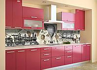 Кухонный фартук Ретро Мир (виниловая наклейка скинали ПВХ) газеты паровоз воздушный шар Бежевый 600*2500 мм, фото 1