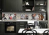 Кухонный фартук Лампочки и Картины (виниловая пленка наклейка скинали ПВХ) люди комиксы Серый 600*2500 мм, фото 1