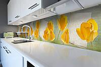 Кухонный фартук Желтые Тюльпаны (виниловая пленка наклейка скинали ПВХ) письмо цветы Абстракция 600*2500 мм, фото 1