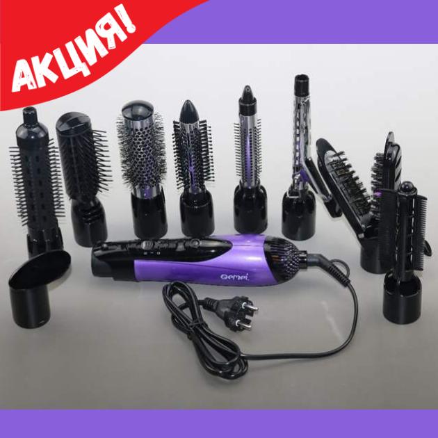 Фен стайлер для волос 10 в 1 Gemei GM-4835, Фен для волос, Мультистайлер для волос, Фены, машинки для стрижки,
