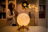 Настольный светильник ночник Луна, Лампа 3D Moon Lamp, 3D светильник, Светильники для дома , фото 3