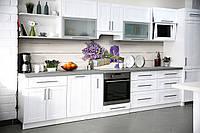 Кухонный фартук Лавандовая соль (виниловая пленка скинали ПВХ) Прованс белые доски лаванда Серый 600*2500 мм, фото 1