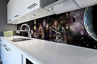 Кухонный фартук Космические Корабли (виниловая пленка наклейка скинали ПВХ) космос планеты Черный 600*2500 мм