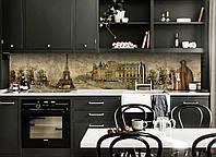Кухонный фартук Старый Париж (виниловая пленка скинали ПВХ) Франция Эйфелева башня винтаж Бежевый 600*2500 мм