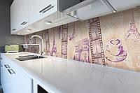Кухонный фартук Романтическая Европа (виниловая наклейка скинали ПВХ) Эйфелева башня кинопленка 600*2500 мм, фото 1