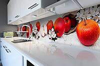 Кухонный фартук Красные Яблоки (виниловая пленка наклейка скинали ПВХ) фрукты цветы Серый 600*2500 мм, фото 1