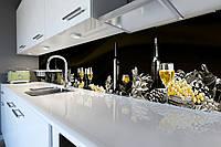 Кухонный фартук Винный Натюрморт (виниловая пленка наклейка скинали ПВХ) виноград бокалы Черный 600*2500 мм, фото 1