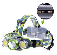 Фонарь налобный 2133-T6+2COB, ЗУ micro USB, 2х18650/3xAA, индикация заряда, signal light