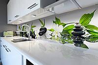 Кухонный фартук Белые Орхидеи и Камни (виниловая пленка наклейка скинали ПВХ) Цветы Зеленый 600*2500 мм, фото 1