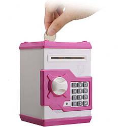Электронная копилка сейф с кодовым замком Money Safe, бело-розовый