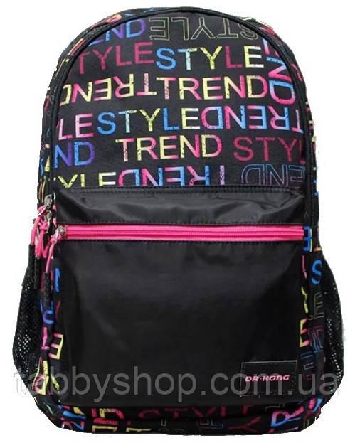 Рюкзак подростковый Dr. Kong Z1300029 черный с надписями