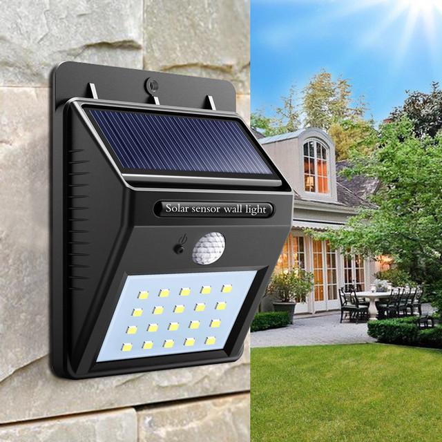 Светодиодный Навесной фонарь с датчиком движения 609 + solar 20 диодов, навесные фонари, Товары для дома