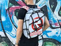 Рюкзак городской качественный модный стильный Антивор с принтом Roblox серый, фото 1