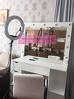 Стол для визажиста, гримерный столик с полочками сбоку тумбы, стол для парикмахера 1