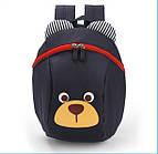 Детский рюкзак мягкий для мальчика Мишка синий Код Ф-1