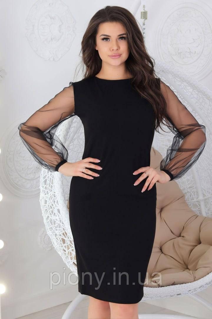 Женское платье с сеткой Батал